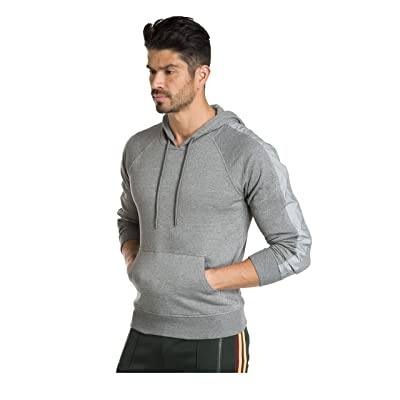 Jared Lang Men's Hoodie Sweatshirt Top with Reflective Stripe on Sleeves at Men's Clothing store