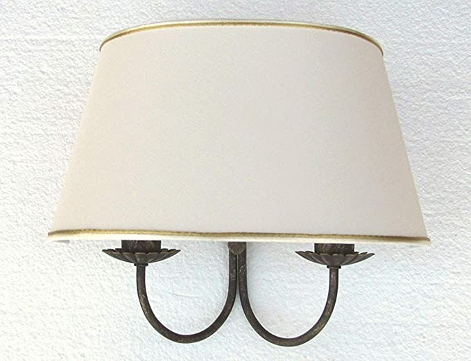 Applique lampada da parete a due luci paralume ventola cono ovale