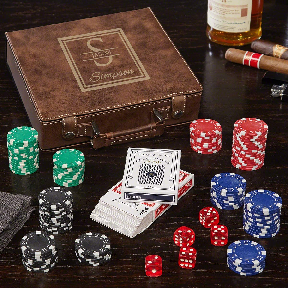 Sofias Findings Personalized Leatherette Poker Chip Set Crosshair
