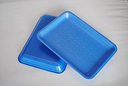 500 x bandejas para carne de poliestireno azul Linstar (18D) (free P&P en