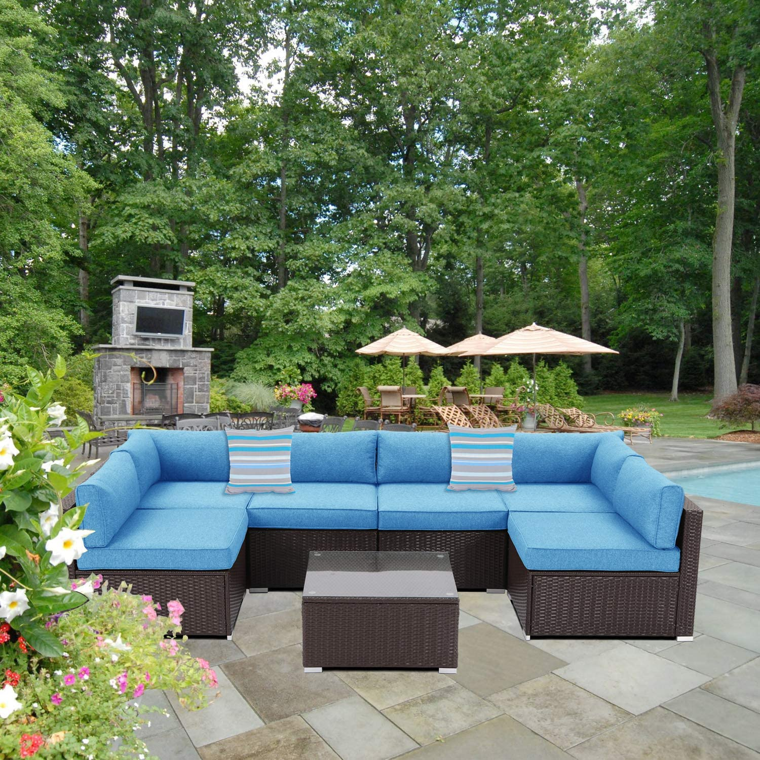 Sunbury Outdoor Sectional 7 Piece Espresso Brown Wicker Sofa Patio Furniture Set W 2 Stripe Pillows Denim Blue Cushions Tempered Glass Table Weatherproof Cover For Backyard Kitchen Dining