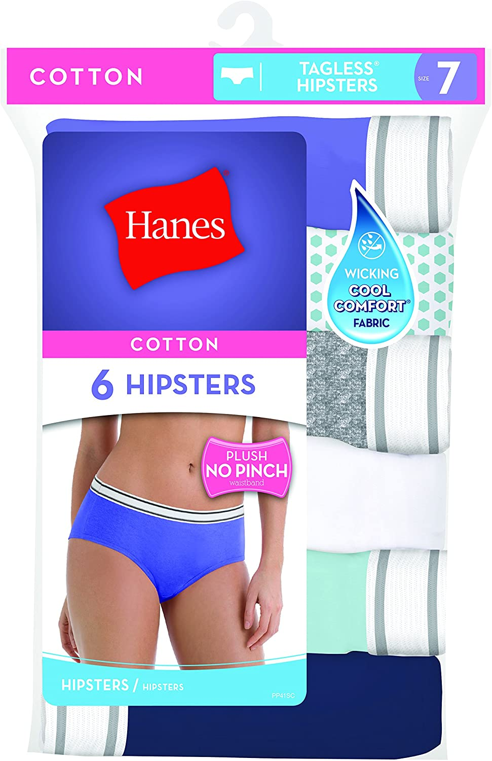 Hanes Women's Cotton Sporty Hipsters with Cool Comfort 6 Pack at  Women's Clothing store