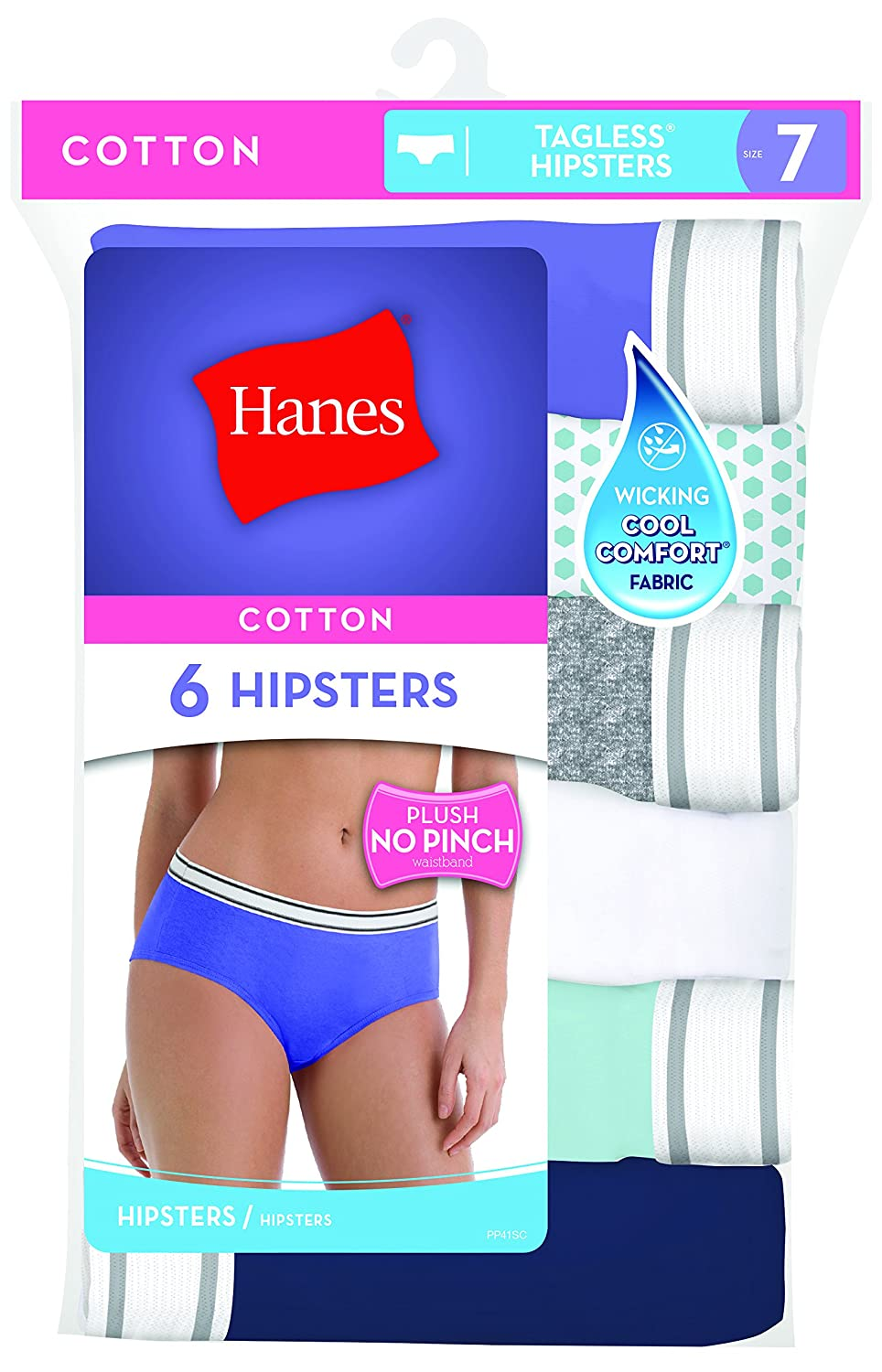 Hanes Women/'s Panties PP41 Hanes Womens Cotton Sporty Hipsters with Cool Comfort 6 Pack