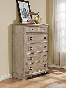 Roundhill Furniture Piraeus 6 Drawers Wood Chest, White Wash