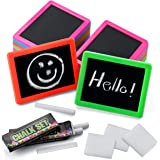 Neon Chalkboard Set for Kids - (Pack of 24) Mini Chalk Boards Each with 2 Chalk Sticks, and 1 Eraser for Boys and Girls Birth
