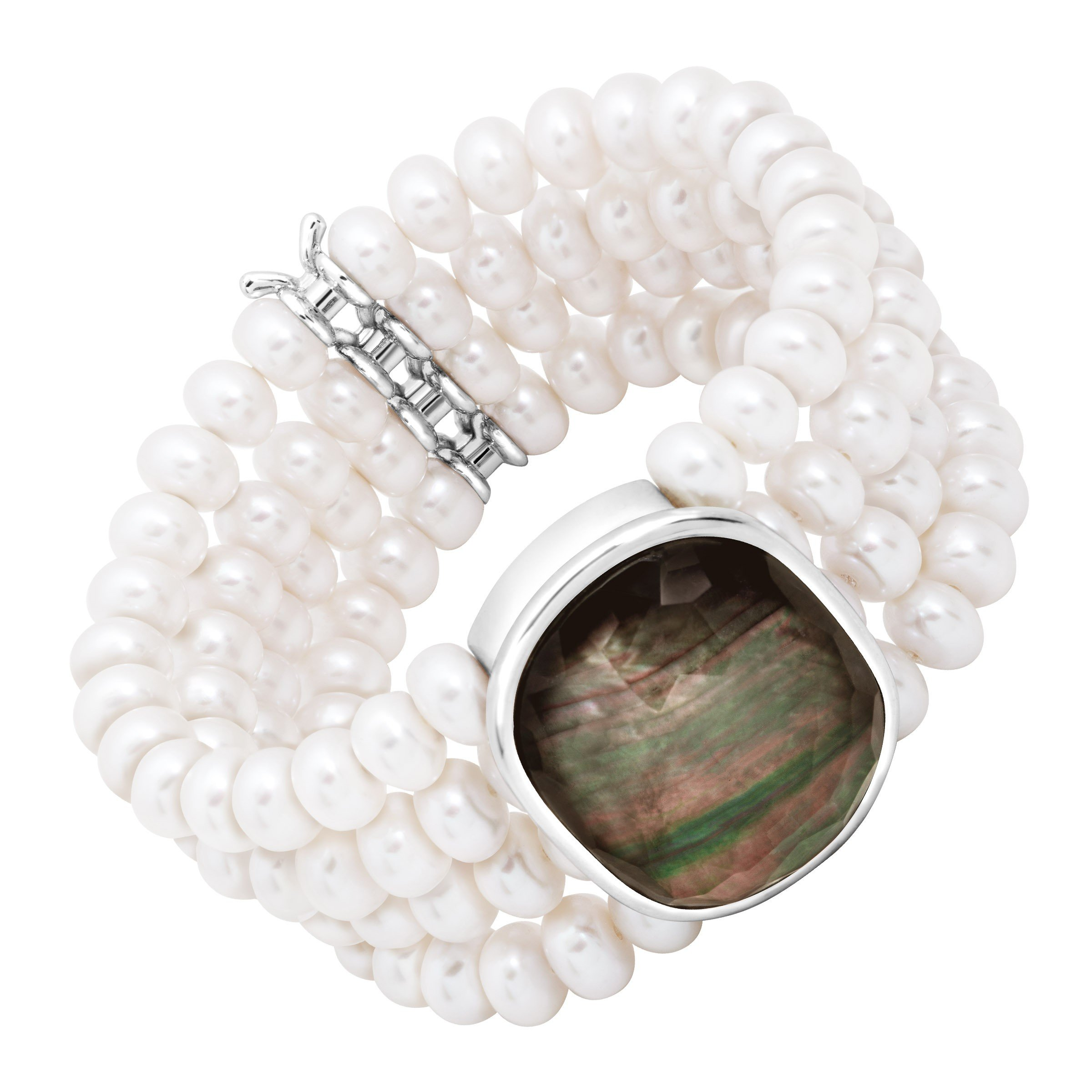 Honora 4-Row Freshwater Cultured Pearl & Black Mother-of-Pearl Doublet Stretch Bracelet in Sterling Silver