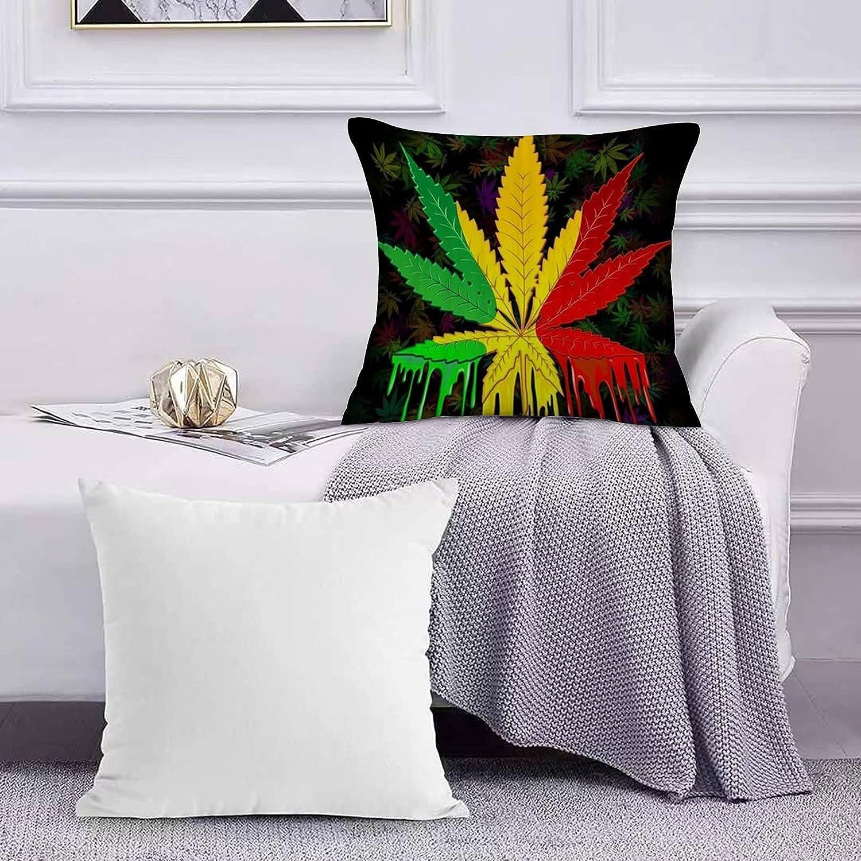 Funda de Cojín Funda de Almohada del Hogar Marihuana de Hoja de Marihuana Rasta Reggae Sofá Throw Cojín Almohada Caso de la Cubierta para 45x45cm