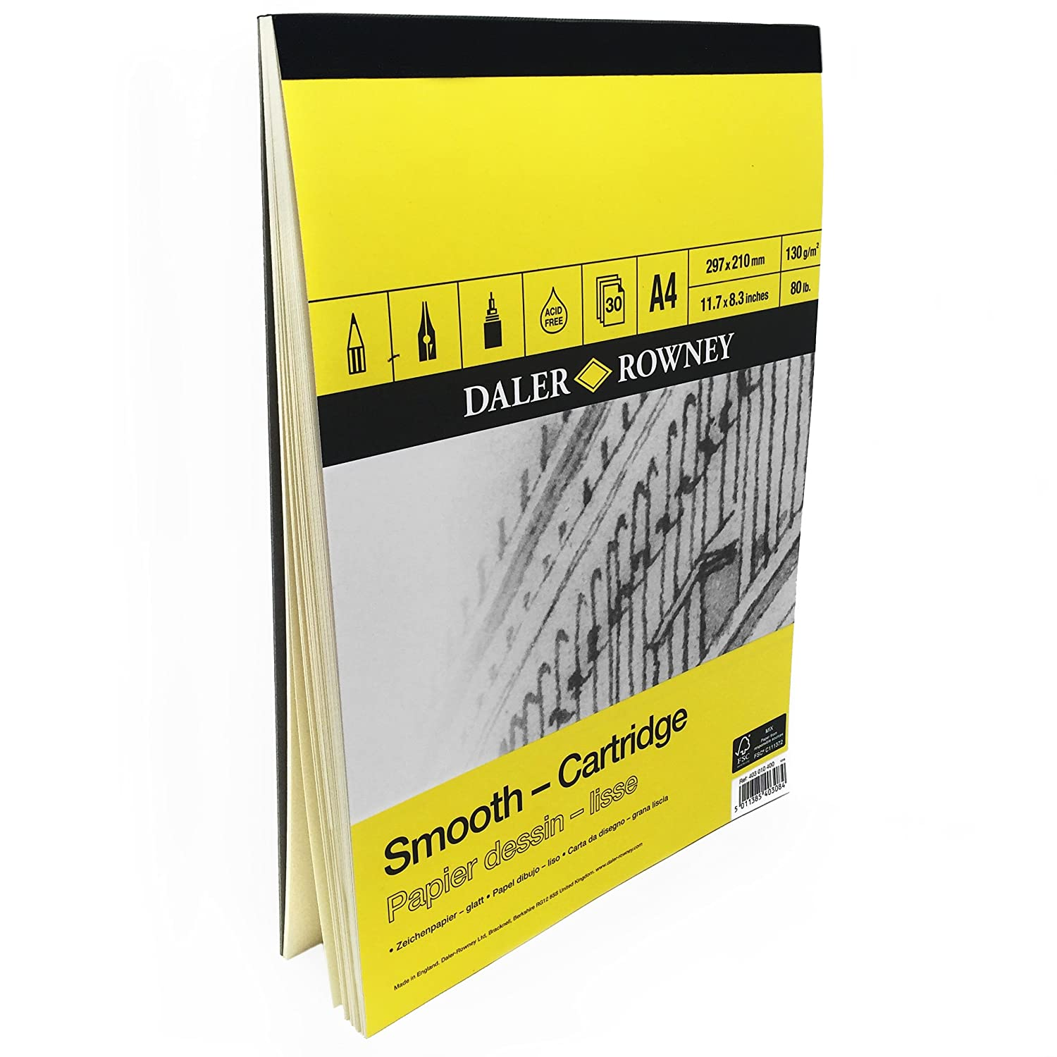 Daler Rowney - Smooth Cartridge Sketchbook - 130gsm - 30 Pages - A4 Portrait - Made in England 403 010 400