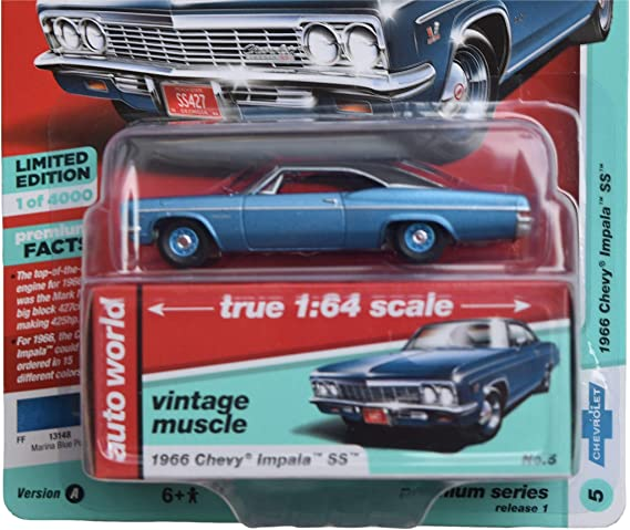 1966 Chevrolet NOVA Coupe Marina Blue *RR* Racing Champions Auto World 1:64 OVP