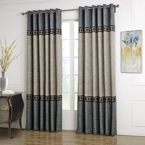 Dreaming Casa Solid Curtains Polyester Window Treatment 2 Tone Stitching Design Luxury Style Grey 1 Panel 52″ W x 96″ L