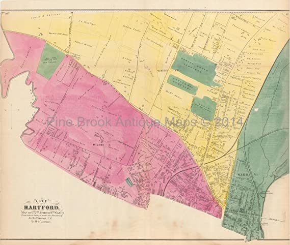 Hartford Connecticut Antique Map 1st, 7th, 6th Wards Baker ...
