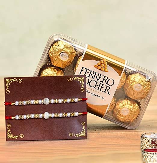 Tied Ribbons Rakhi Gift For Brother Set Of 2 Designer Rakhi With Ferrero Rocher Chocolates Gift Pack And Roli Chawal Amazon In Grocery Gourmet Foods