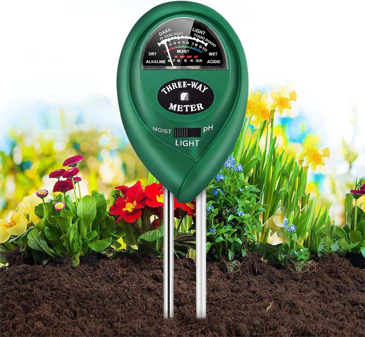 Soil pH Meter, 3-in-1 Soil Tester Kits with Moisture, Soil Moisture Meter& Soil Water Monitor, Light and PH Test for Garden, Farm, Lawn, Indoor and Outdoor(Green)