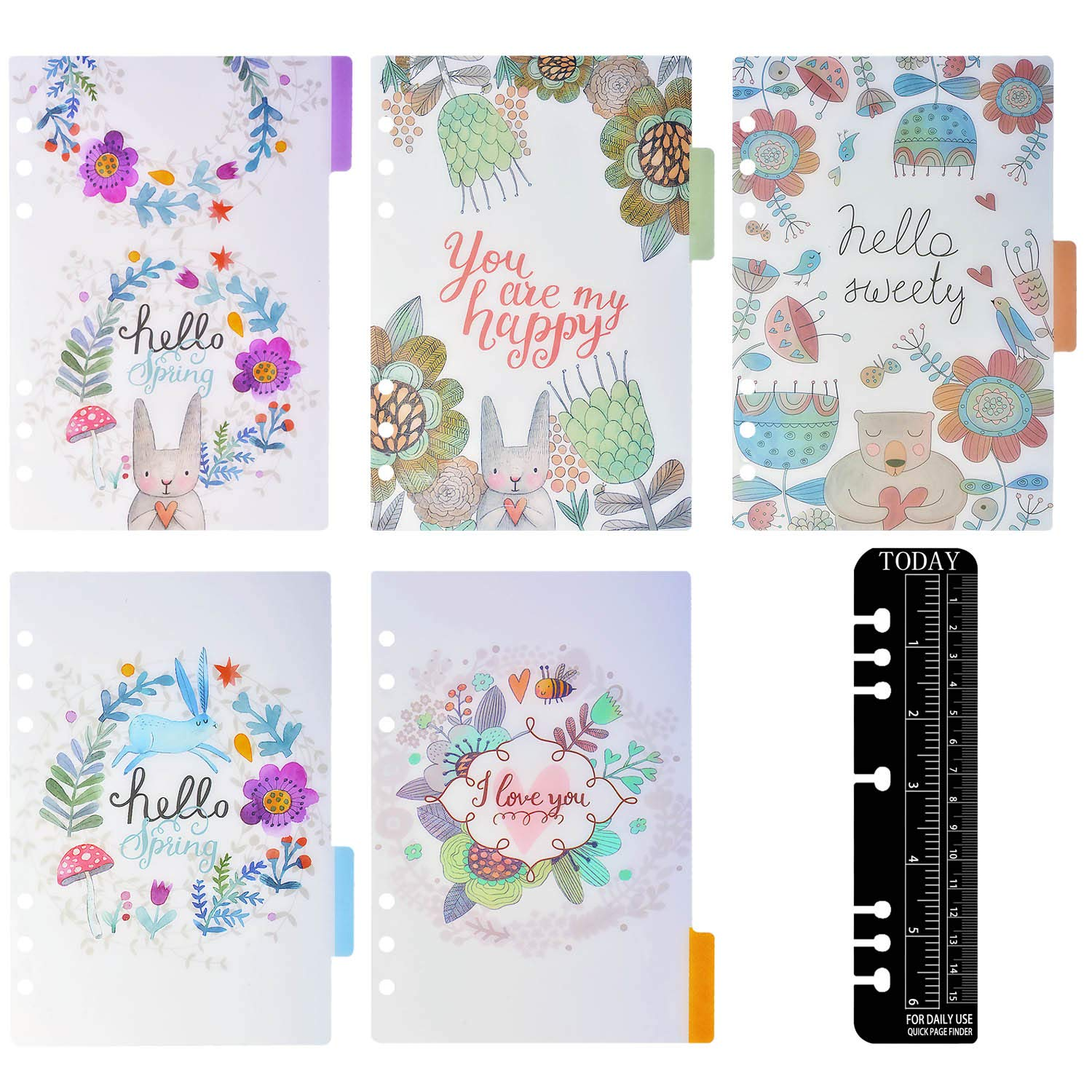 Larcenciel A6 Dividers Inserable Pagina Tab Card, 1 Set 5 Pz Translucent PP 6-Ring Binder, Pagina categoria Day Planner Filofax Notebook / Diario di viaggio / Planner w / Righello (Farfalla di uccello fiore)