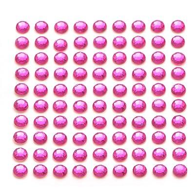 100X Rose Vif autocollant Diamante bâton sur strass 5mm