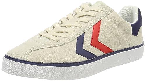 hummel Diamant Suede, Sneakers Basses Mixte Adulte, Blanc (Pristine/Peacoat/Fiery Red), 46 EU