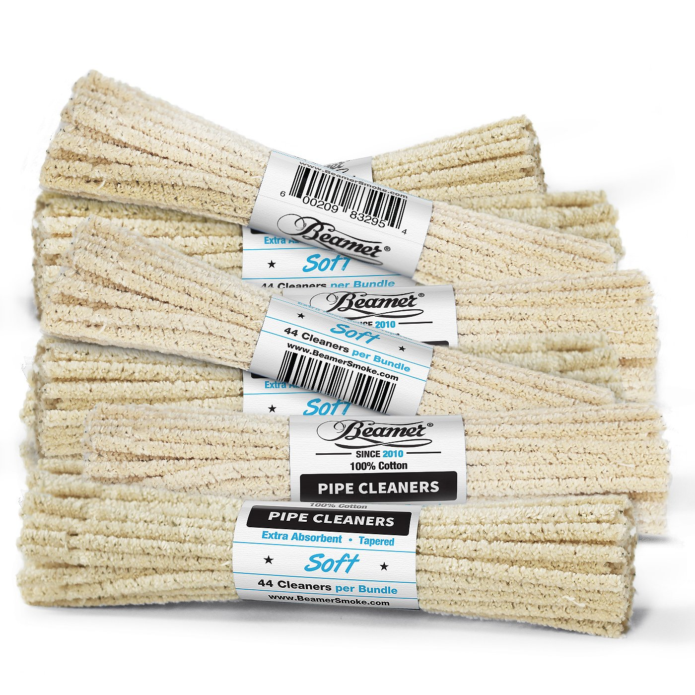 Beamer 6 Inch Unbleached Soft Pipe Cleaners, 572 Pieces, 13 Bundles - 100% Cotton, Extra Absorbent, Tapered, No Colors Or Dyes, Bendable, Reusable + Beamer Smoke Collectable Sticker