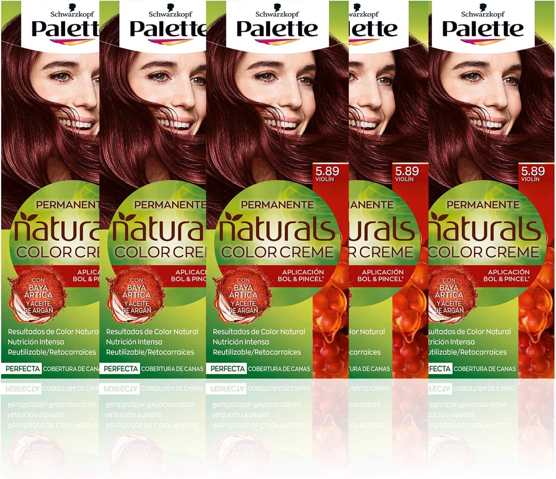 Schwarzkopf Palette Naturals Color Creme - Tono 5.89 cabello Violín (Pack de 5) - Coloración Permanente – Perfecta cobertura de canas – Colores ...