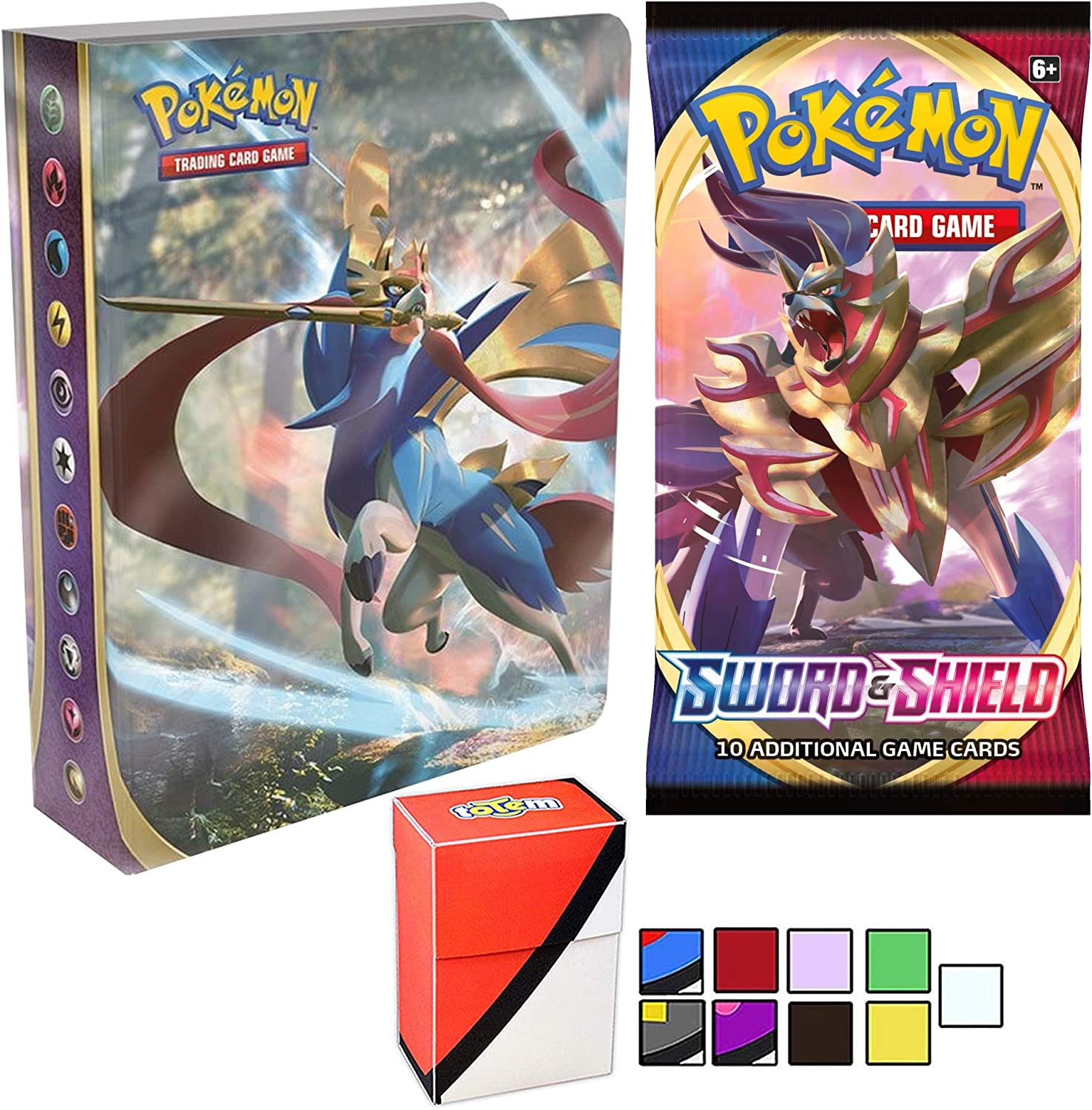 Amazon.com: Totem World Sword and Shield Mini Portfolio Album Binder and 1 Booster  Pack with a Totem Deck Box for Pokemon Cards - V, VMAX Ultra Rare or Holo  TCG: Toys &
