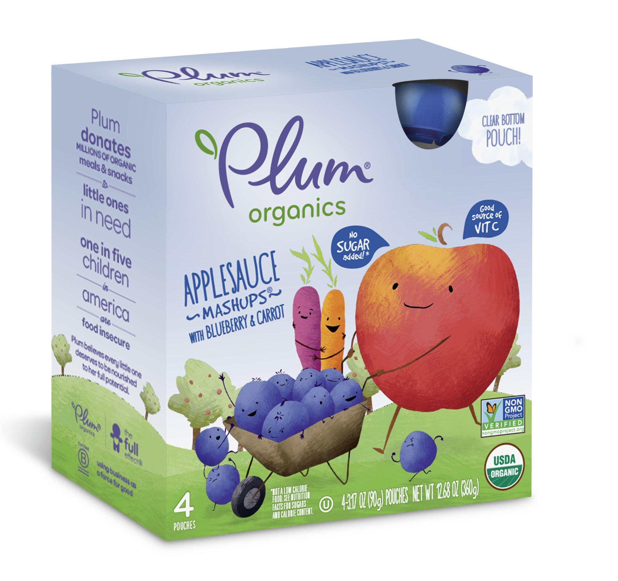 Plum Organics Mashups, Organic Kids Applesauce, Blueberry & Carrot, 3.17 ounce pouch, 4 count (Pack of 6) by Plum Organics