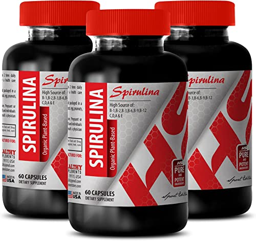 Spirulina Supplement – SPIRULINA Organic Plant-Based 500 MG – Strengthen The Immune System 3 Bottles