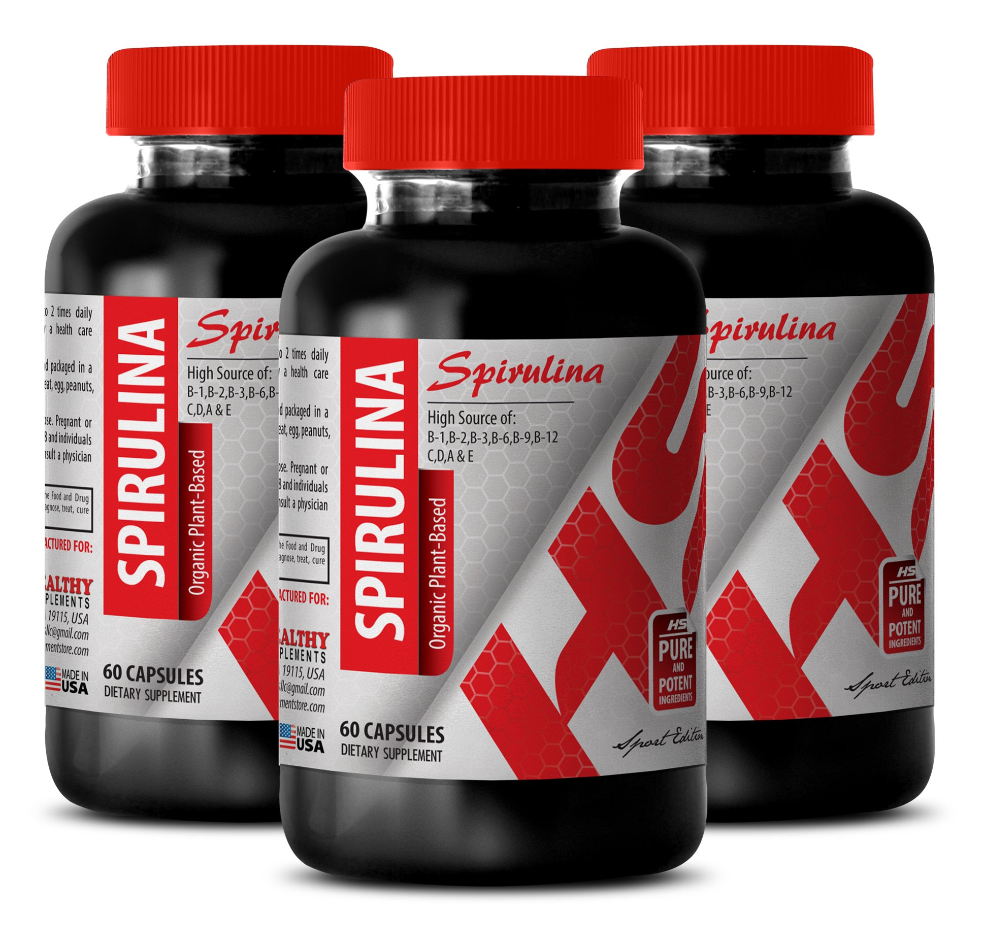 Spirulina supplements 500mg - SPIRULINA ORGANIC PLANT-BASED 500 MG - improve digestive health (3 Bottles) by Healthy Supplements LLC