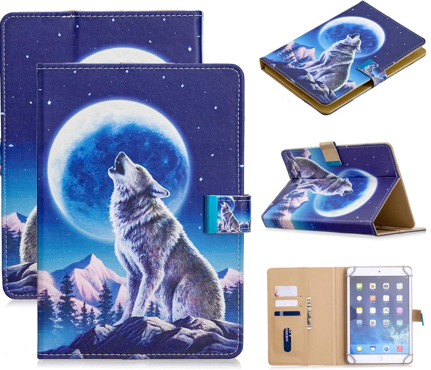 Universal Case for 9.5-10.5 Inch Tablet, APOLL Synthetic Leather Magnetic Closure Card Slots Wallet Case for G oogle Nexus 10/for HD 10.1/ and Other 9.7/10/10.1/10.3/10.5 inch Tablet, Moon Wolf