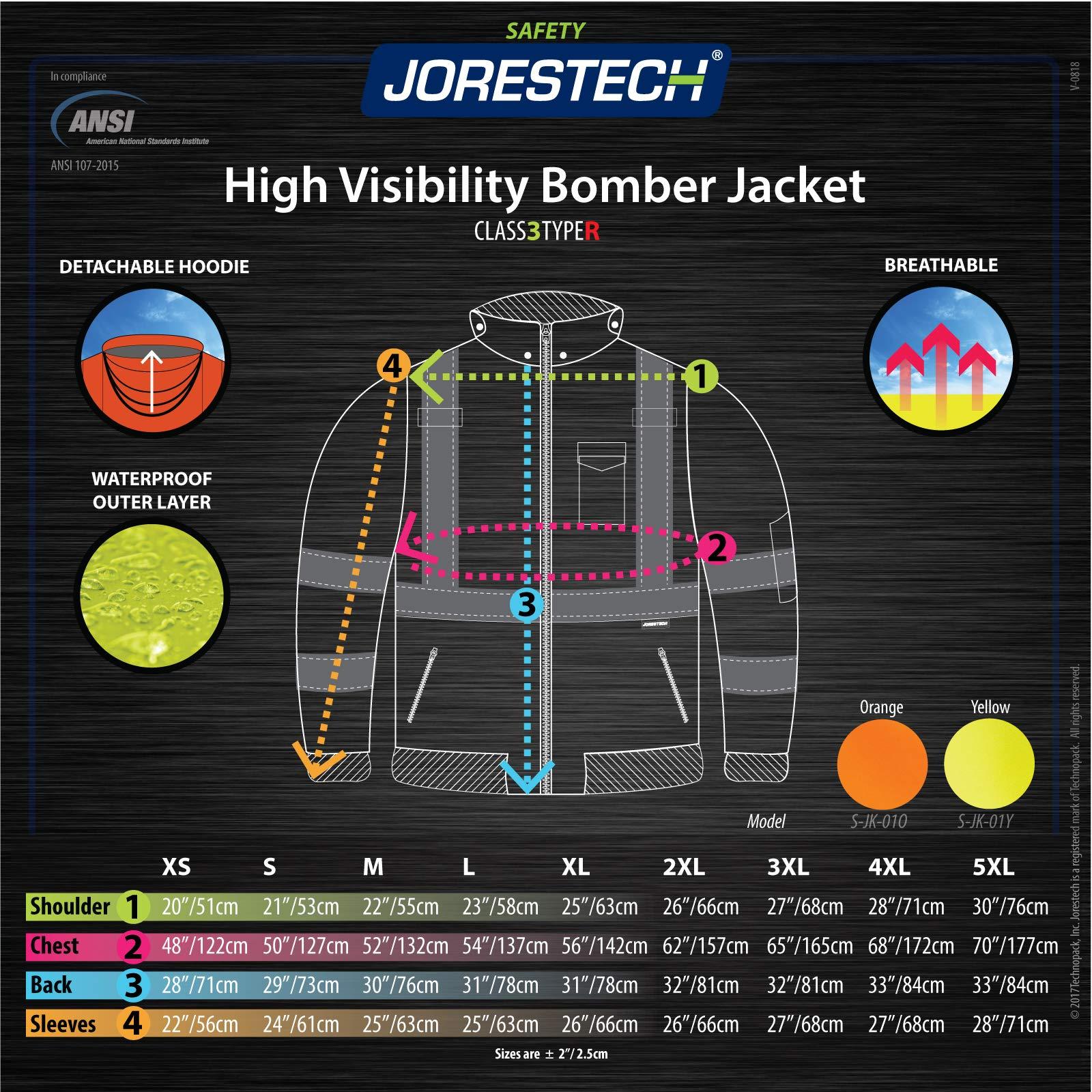 JORESTECH High Visibility Waterproof Bomber Jacket (3X-Large, Orange) by JORESTECH  (Image #7)