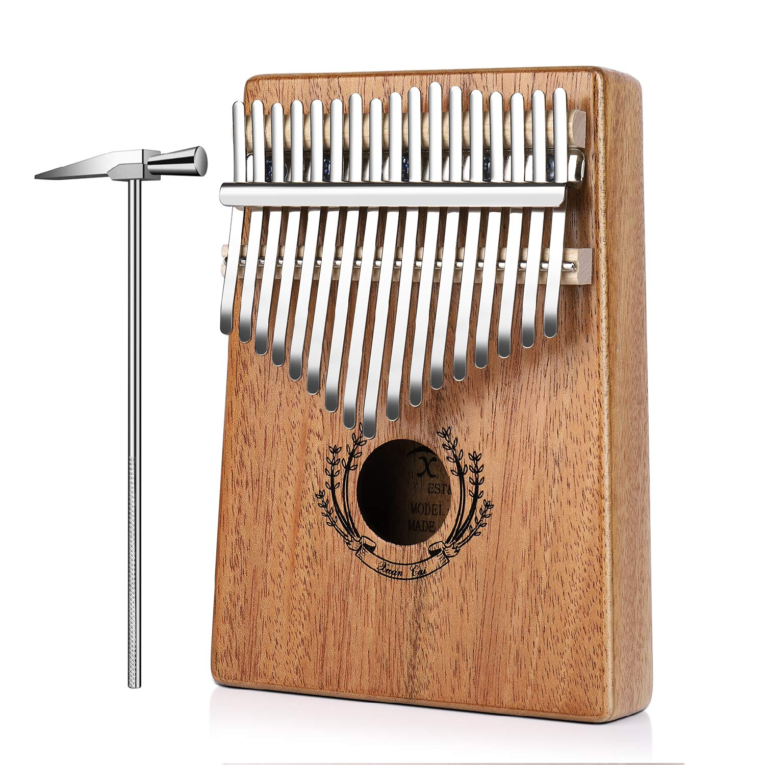 Flexzion Kalimba 17 Keys Thumb Piano, Mbira 17 Tone Finger Piano Portable African Musical Instrument with Musical Scorebook/Learning Booklet, Tune Hammer, Storage Carrying Bag by Flexzion (Image #1)