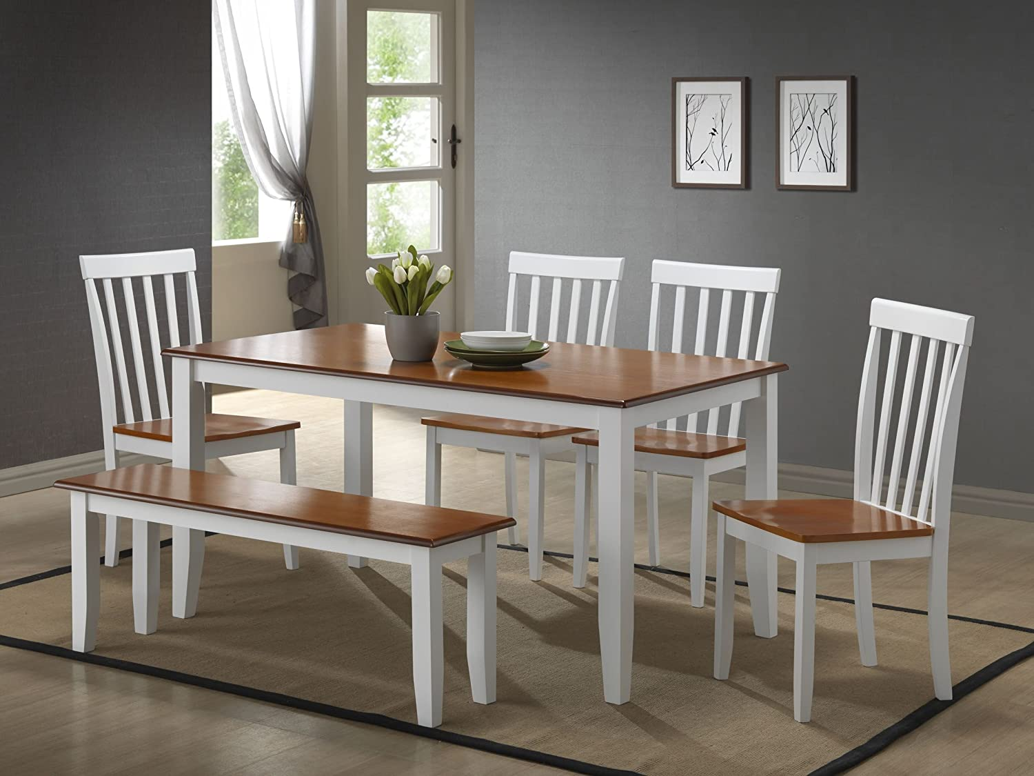 amazoncom boraam 22034 bloomington 6 piece dining room set whitehoney oak table chair sets - Dining Room Table With Chairs And Bench