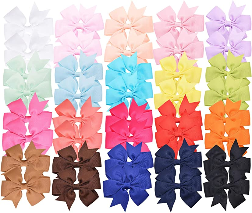 Amazon Prohouse 40 Pcs 3 Baby Girls Ribbon Hair Bow Clips