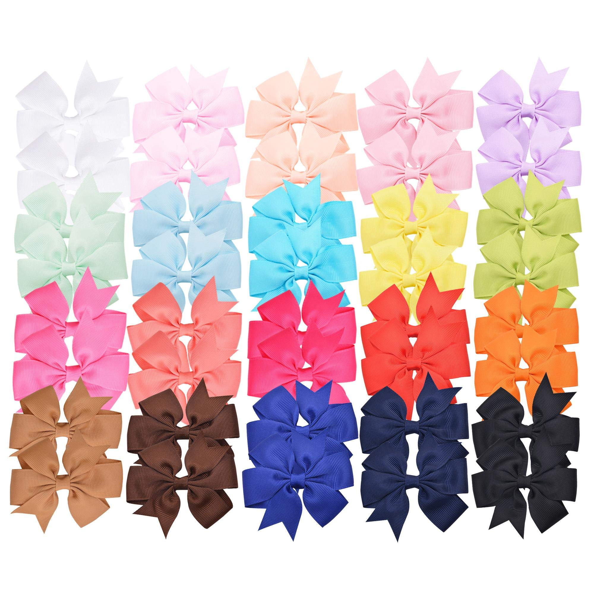 Prohouse 40 PCS 3'' Baby Girls Ribbon Hair Bow Clips Barrettes For Girl Teens Kids Babies Toddlers
