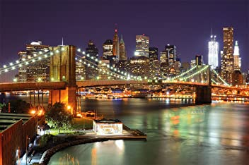 great-art Fototapete New York Wandbild Dekoration Brooklyn Bridge bei Nacht leuchtende Wolkenkratzer Skyline Wall Street USA Deko | Foto-Tapete Wandtapete Fotoposter Wanddeko by (336 x 238 cm)