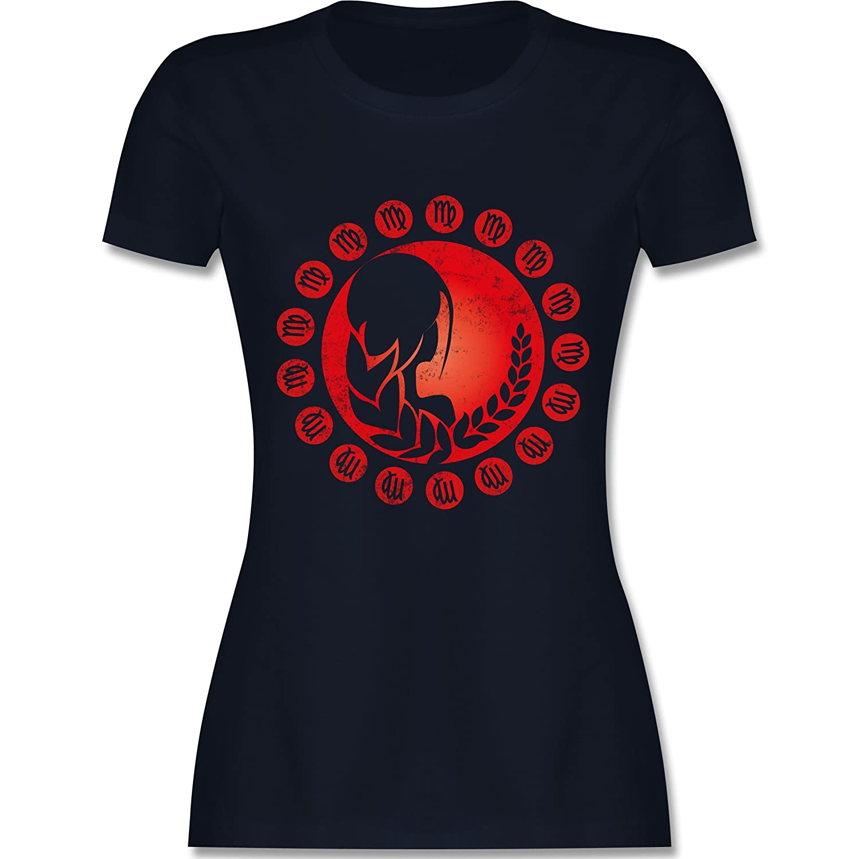 Tierkreiszeichen Sch/ütze Lockeres Damen-Shirt in gro/ßen Gr/ö/ßen mit Rundhalsausschnitt Symbole