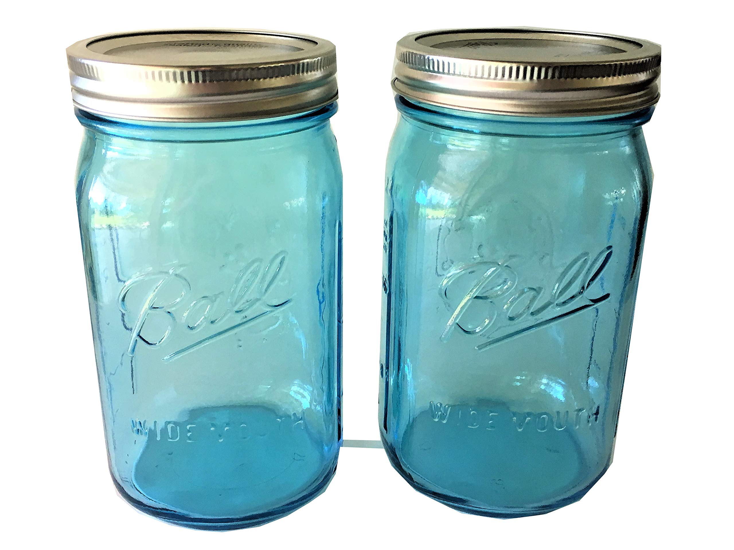 Ball Mason Jar-32 oz. Aqua Blue Glass Ball Collection Heritage Color Series-Set of 2