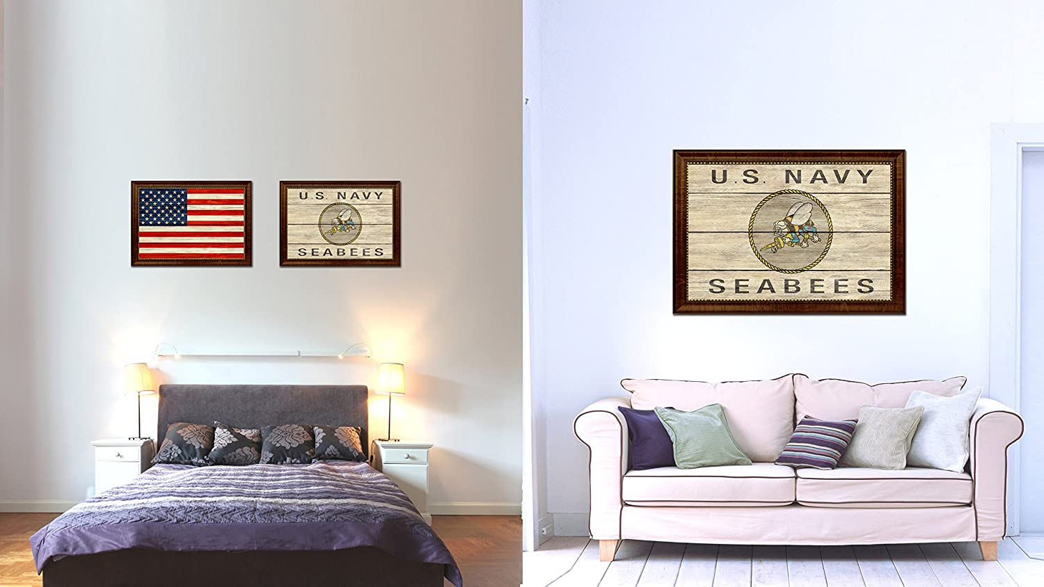 Amazon.com: US Navy Seabees Military Vintage Flag Brown Framed ...