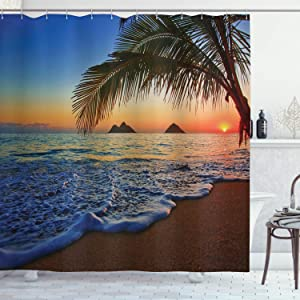 "Ambesonne Hawaiian Shower Curtain, Pacific Sunrise at Lanikai Beach Hawaii Colorful Sky Wavy Ocean Surface Scene, Cloth Fabric Bathroom Decor Set with Hooks, 70"" Long, Blue Brown"