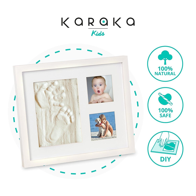 Marco huella de mano y pie de bebé para regalo de recién nacidos y bautizo. Kit marco para huellas de bebé. Cuadro para huella de bebé ideal para regalo de ...