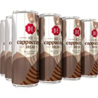 Douwe Egberts IJskoffie Ice Cappuccino, Koffie met Melk en een Vleugje Cacao (12 Blikjes, 100% Arabica Koffie, Ice…