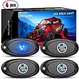 Nilight LED Rock Light 4PCS Blue Light Pods Waterproof Under Body Wheel Well Light Exterior Interior Lights for Car…