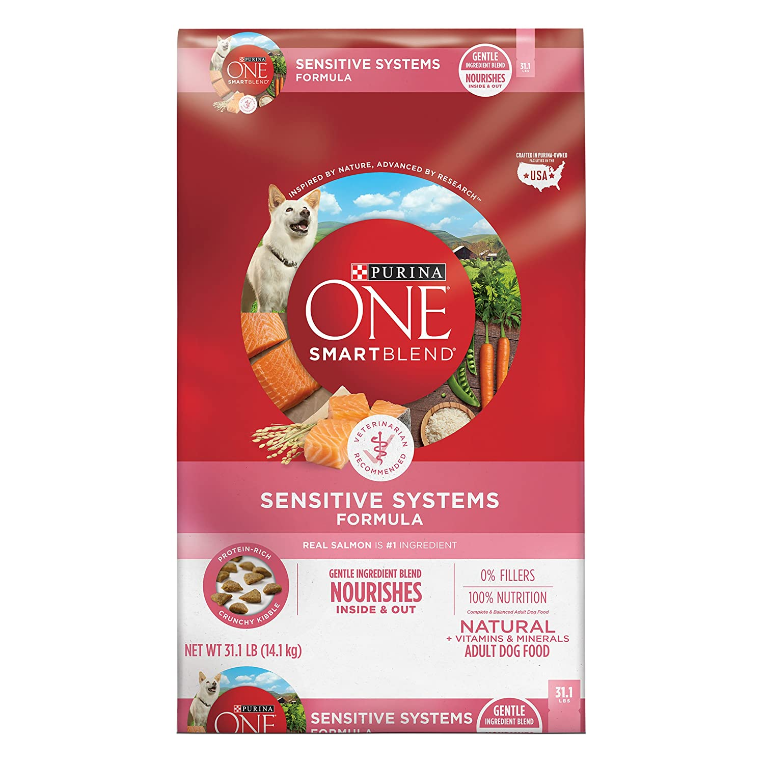 4.Purina ONE SmartBlend Sensitive Systems Adult Formula Dry Dog Food