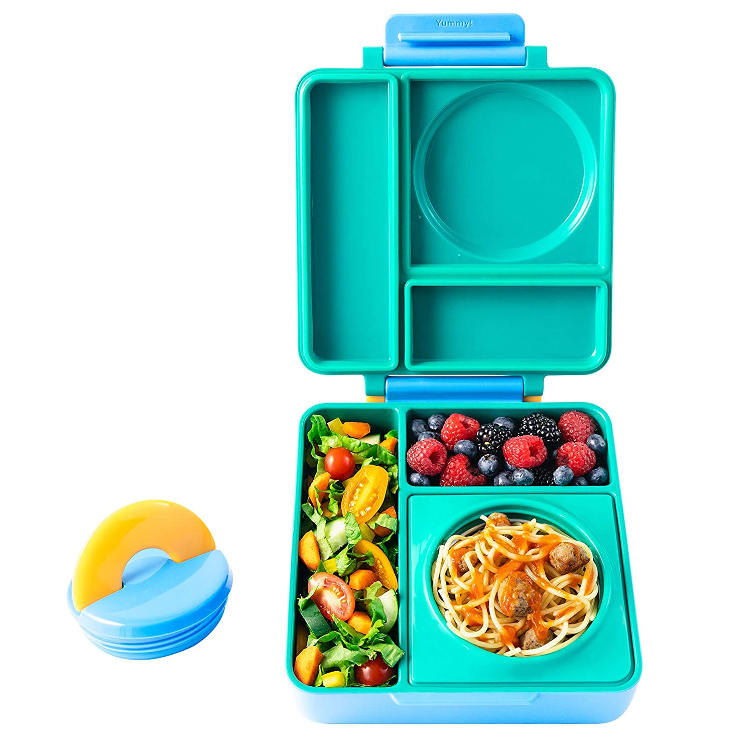 OmieBox - Leak-Proof 3-Compartment Bento Lunch Box For Kids - Includes Insulated Food Thermos - Two Temperature Zones For Hot & Cold Food (Meadow)
