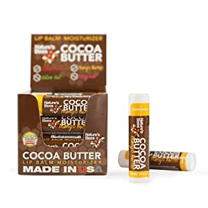 Nature's Bees, Cocoa Butter Lip Balms, Lip Moisturizer Treatment - Pack of 24, Mango Butter