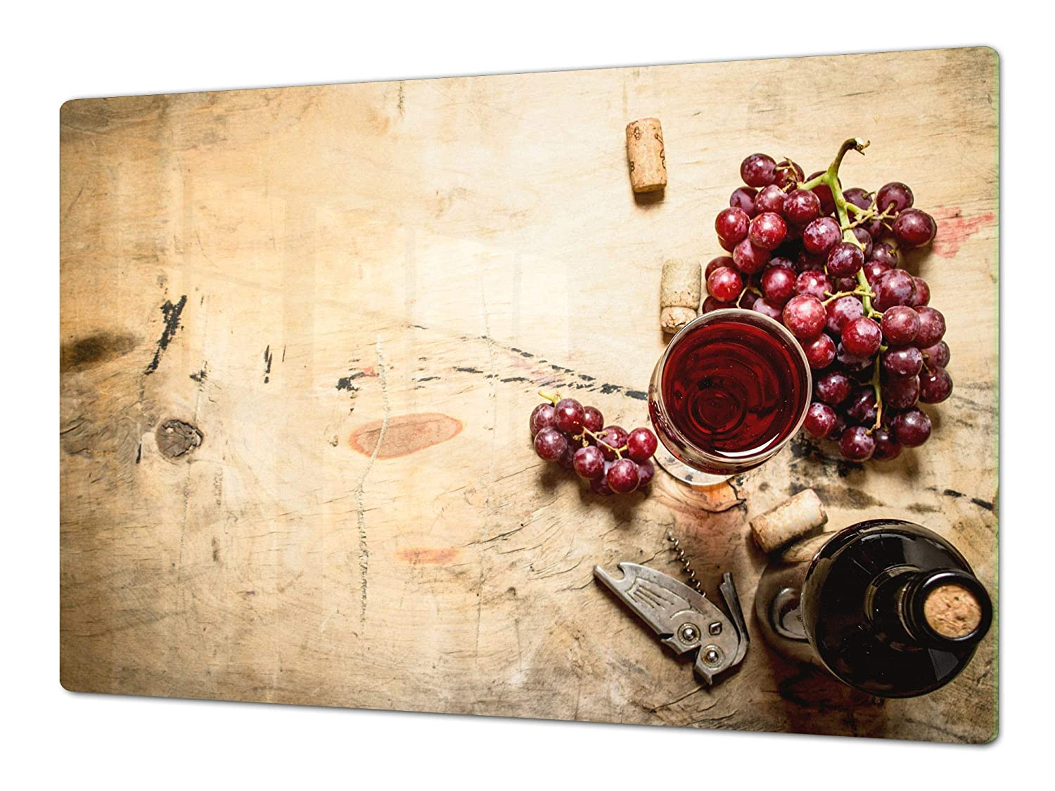 Red wine 4 80x52 Big Kitchen Board & Induction Cooktop Cover – Glass Pastry Board – Heat and Bacteria Resistant;Single  80 x 52 cm (31,5  x 20,47 ); Double  40 x 52 cm (15,75  x 20,47 ); Wine Series DD04