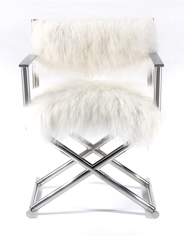 Amazon.com: Pasargad Mongolian Fur U0026 Polished Metal Directoru0027s Chair:  Kitchen U0026 Dining