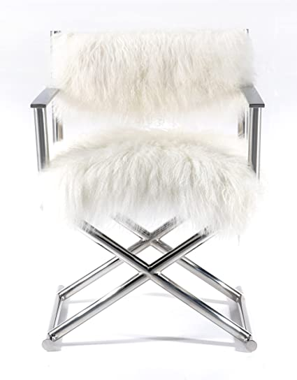 Pasargad Mongolian Fur u0026 Polished Metal Directoru0027s Chair  sc 1 st  Amazon.com & Amazon.com: Pasargad Mongolian Fur u0026 Polished Metal Directoru0027s Chair ...