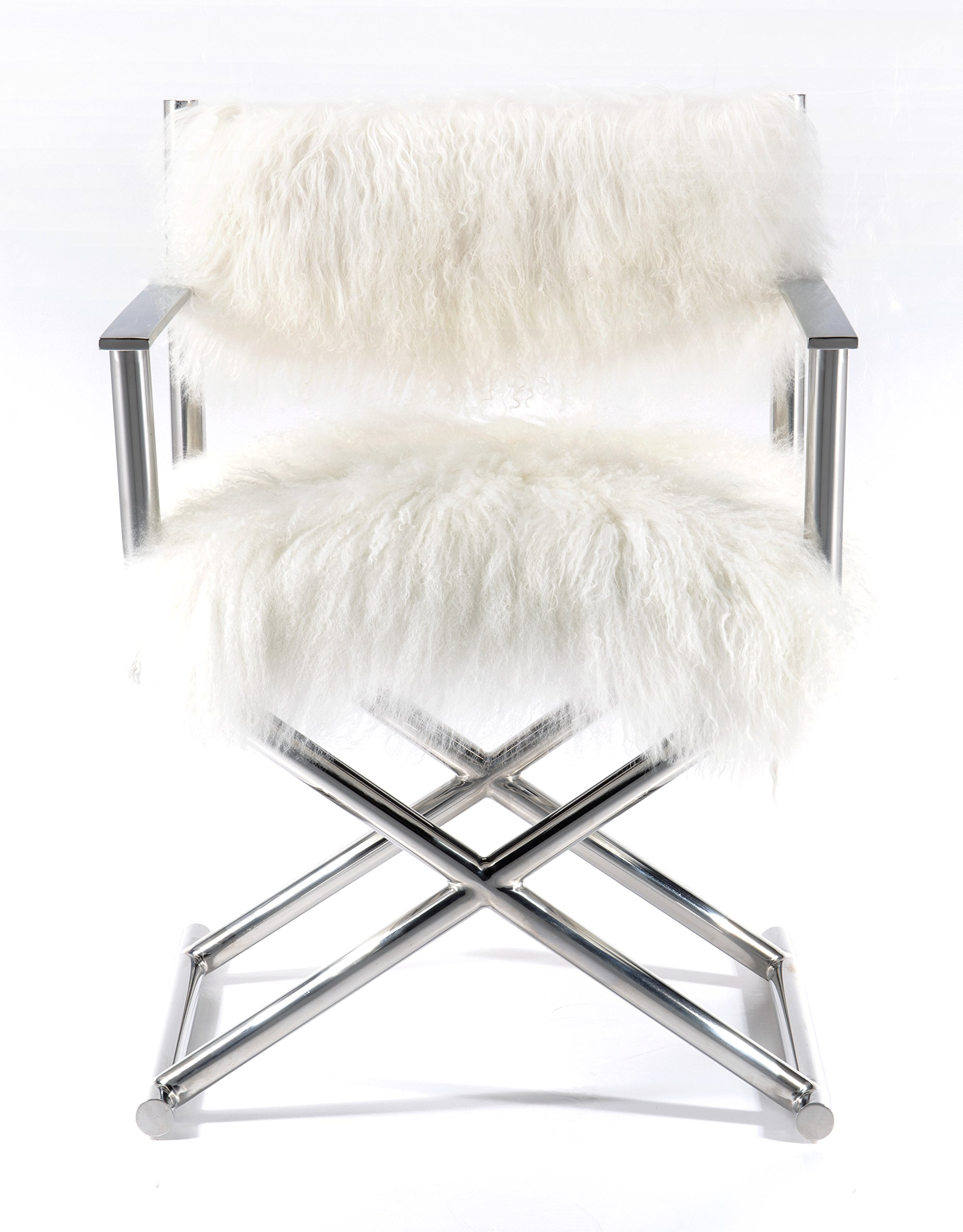Mongolian Fur & Polished Metal Director's Chair