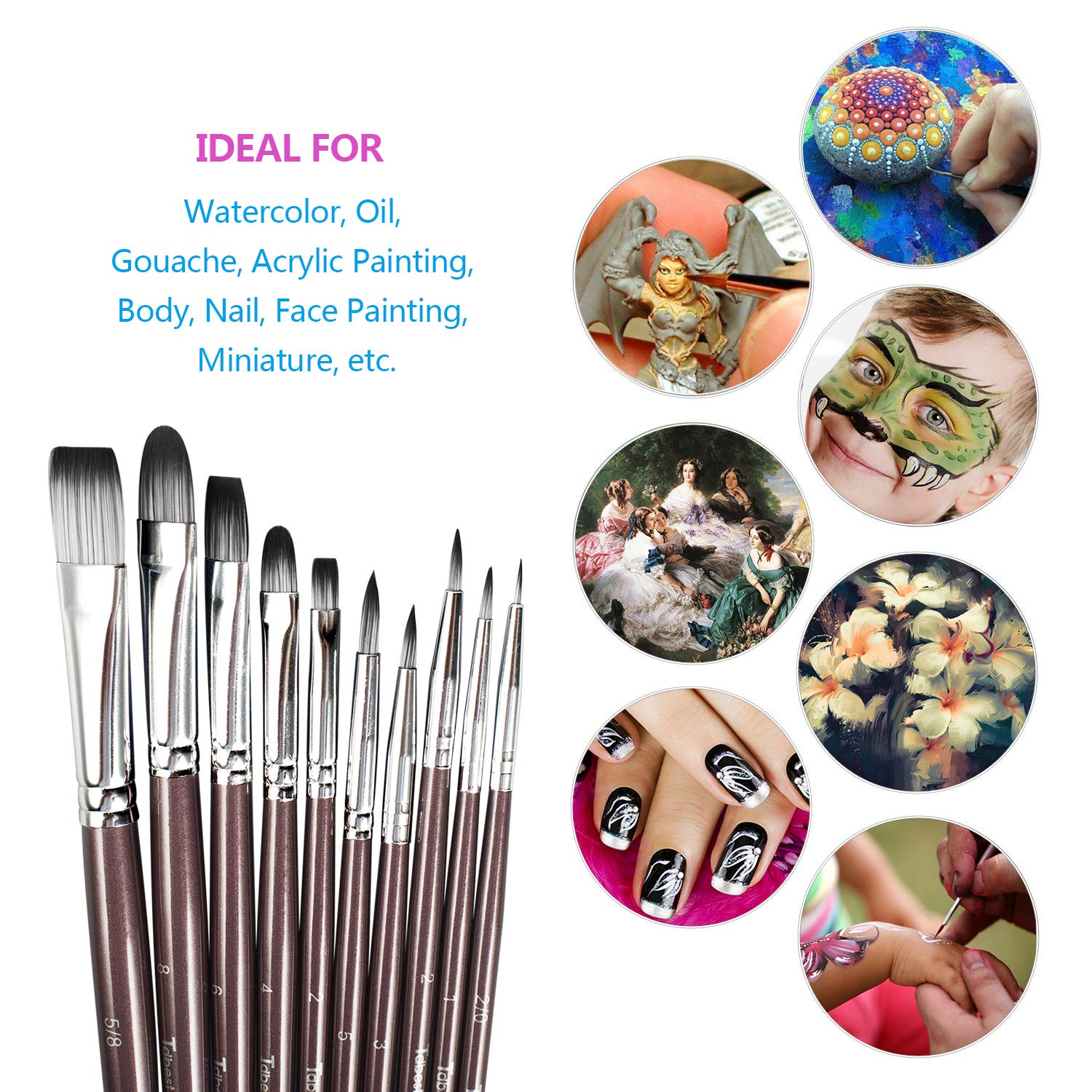 Tdbest Paint Brushes Handmade Nylon Hair Artist Paintbrush Set, Great for Acrylic, Oil, Gouache, Watercolor Painting, for Artists, Painters, Kids, Students and Beginner (10 Pieces)