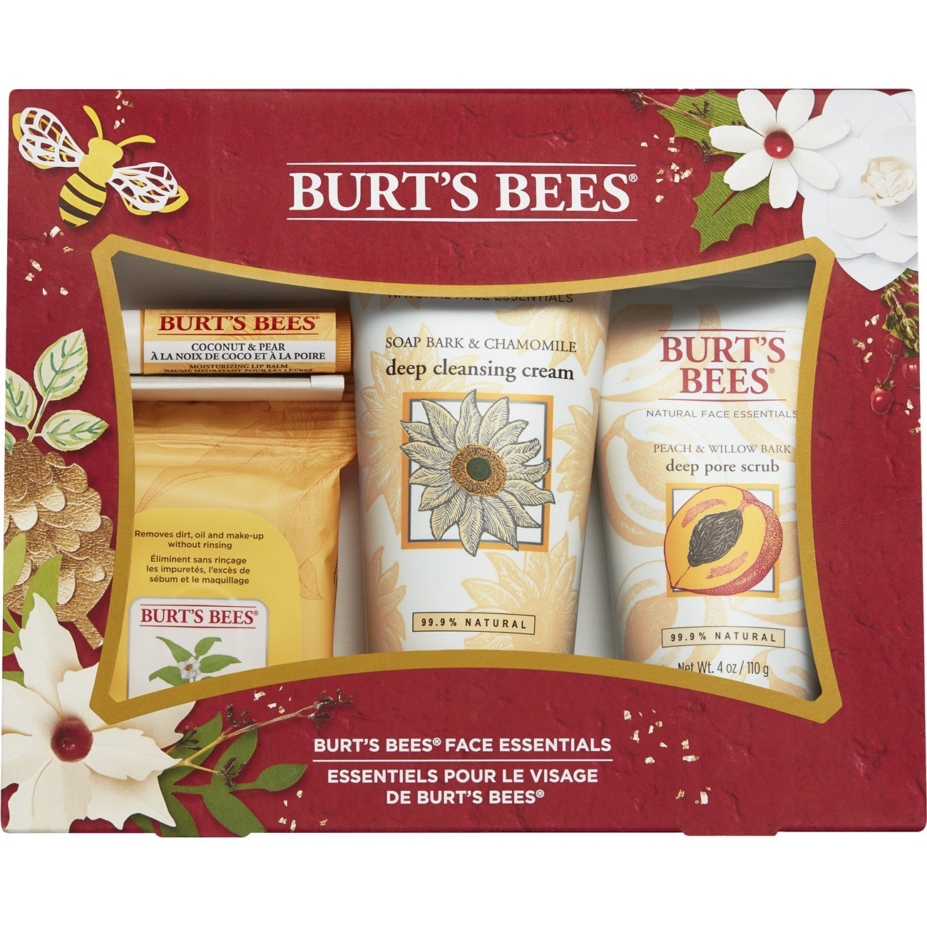 Burt's Bees Face Essentials Holiday Gift Set, 4 Skin Care Products – Cleansing Towelettes, Deep Cleansing Cream, Deep Pore Scrub and Lip Balm Burt' s Bees 89920-24