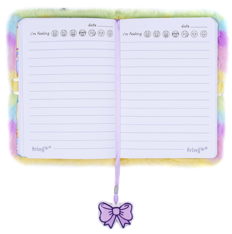 unicorno design con animali 80 pagine Diario con Lucchetto FRINGOO/® per bambini bambine Quaderno A5 Diario 3D con lucchetto